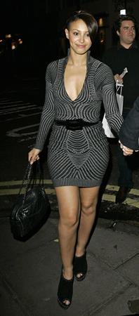 Amelle Berrabah outside the Claridges Hotel on December 2, 2009