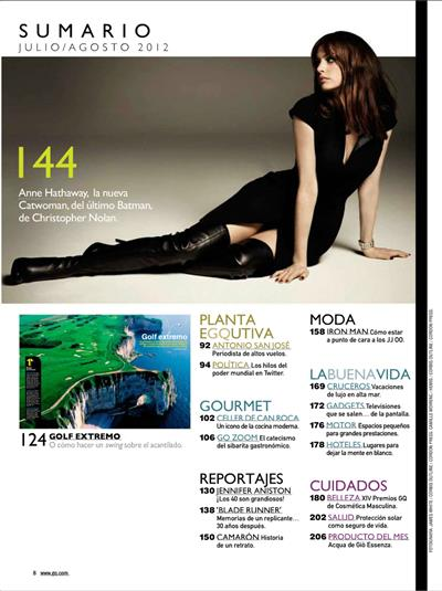 Anne Hathaway GQ Magazine Spain July August 2012