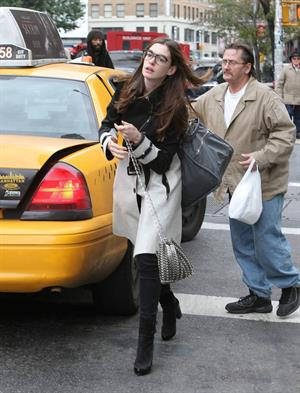 Anne Hathaway out in New York on October 26, 2011