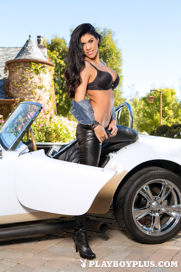 Playboy Cybergirl Autumn Lynn nude on a hot car