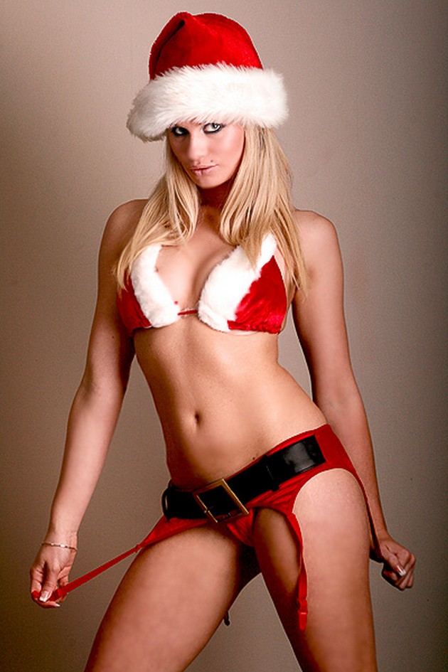 Red Santa's Helper in a bikini