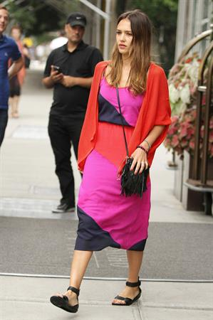 Jessica Alba outside her hotel in New York on July 28, 2012