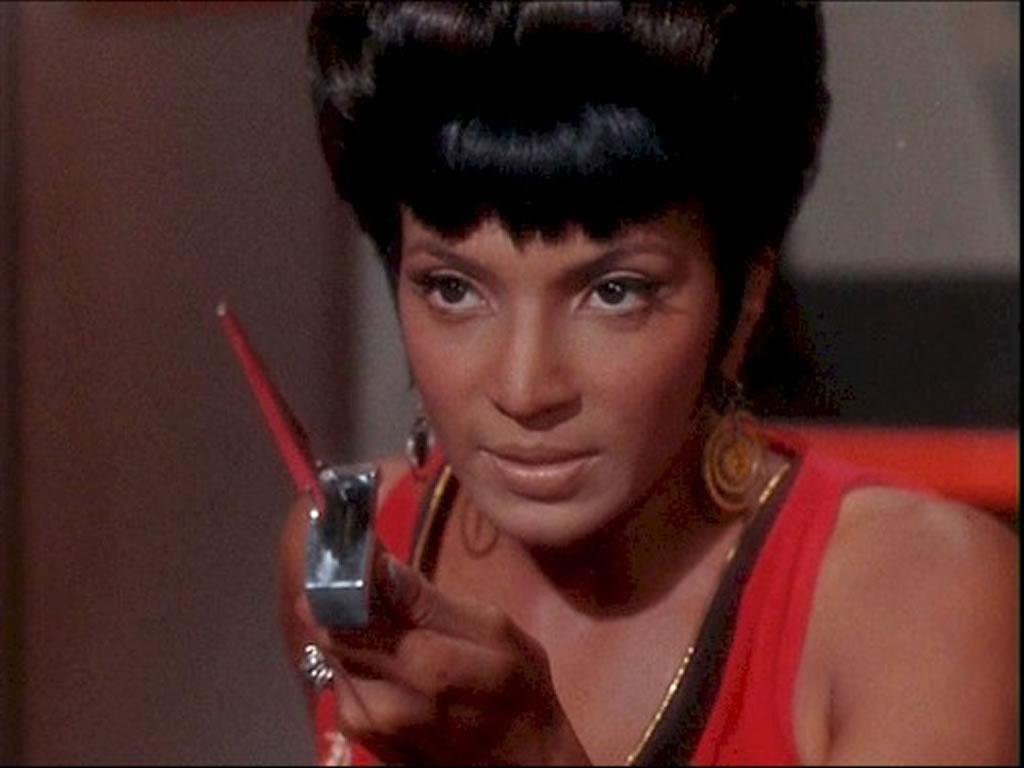 Nichelle Nichols as Lt. Uhura on the Star Trek Bridge