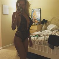 Genevieve Morton in lingerie taking a selfie