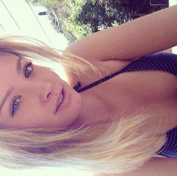 Jessica Stepanova in a bikini taking a selfie