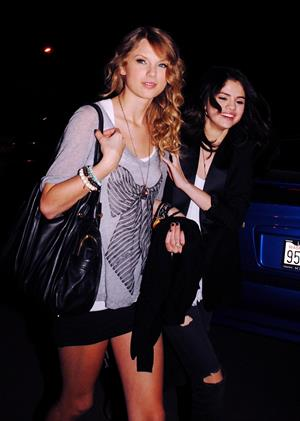 Selena Gomez and Taylor Swift outside a bowling alley in Los Angeles