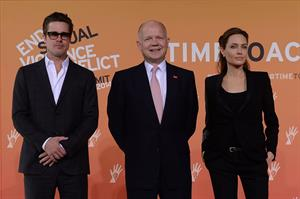 Angelina Jolie and Brad Pitt attend End Sexual Violence in Conflict Summit in east London, June 12, 2014