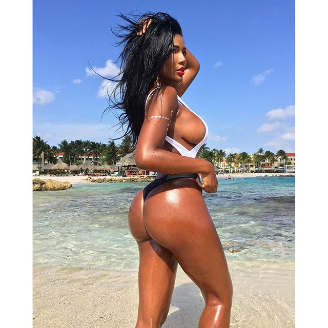 Monifa Jansen in a bikini - ass