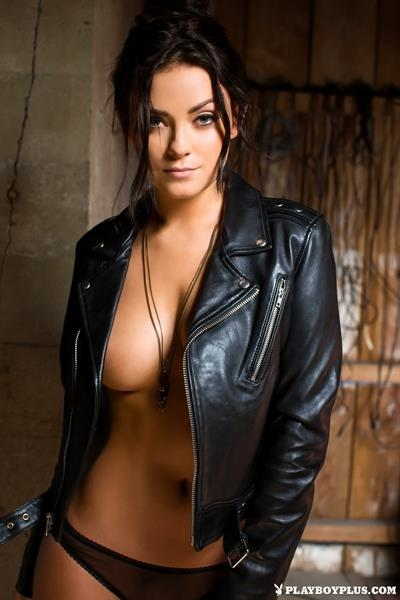 Playboy Cybergirl Alexandra Tyler in black leather jacket