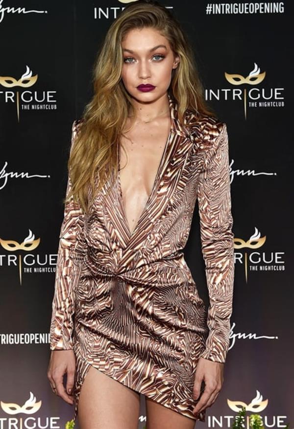 Gigi Hadid in Animal Print Dress