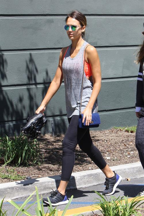 Jessica Alba in leggings outside a Soul Cycle class in Los Angeles, July 2015