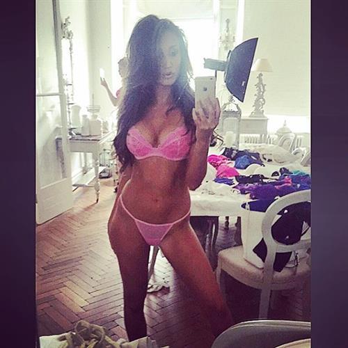 Megan McKenna in lingerie taking a selfie