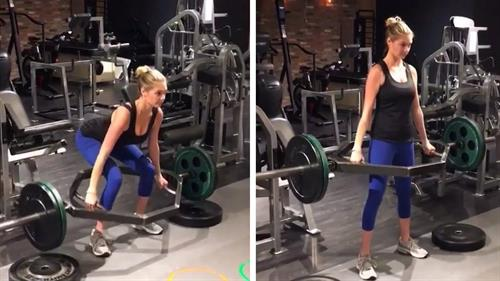 Kate performing an impressive deadlift.