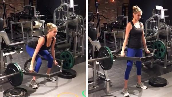 Kate Upton performing deadlift