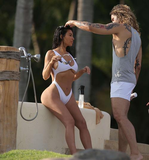 Kim Kardashian in white bikini in Mexico