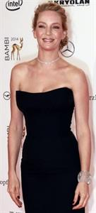 Uma Thurman in a black dress for bambi awards
