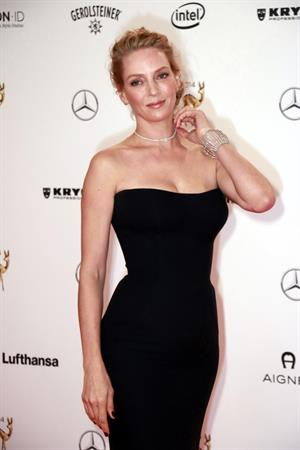 Uma Thurman in a black dress for bambi awards