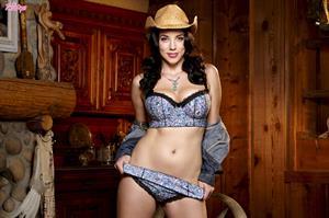 Jelena Jensen in denim cowgirl outfit