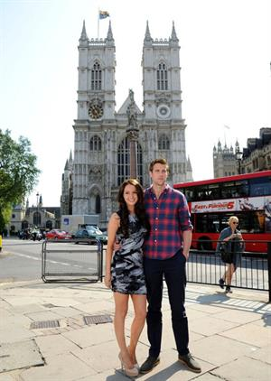 Nico Evers-Swindell and Camilla Luddington promote the made-for-TV movie's DVD release outside Westminster Abbey. (April 25, 2011)