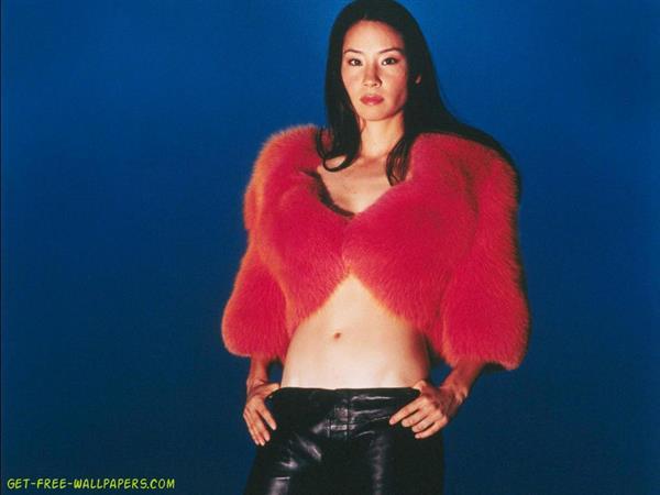 Lucy Liu in red furry coat