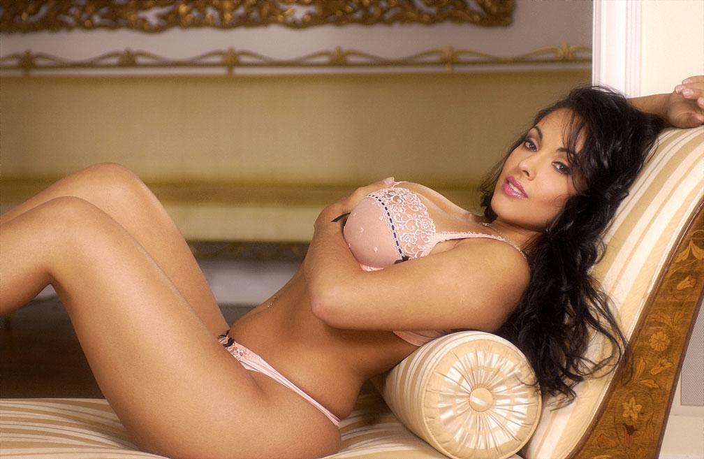 Hot MILF with fabulous tits Nina Mercedez strips off lace underwear  481881