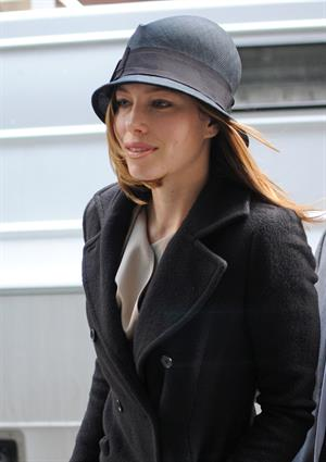 Jessica Biel leaving Justin Timberlake's apartment February 18, 2010