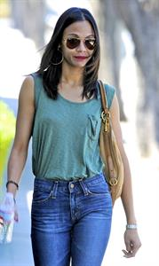 Zoe Saldana leaves a meeting in Beverly Hills April 27-2011