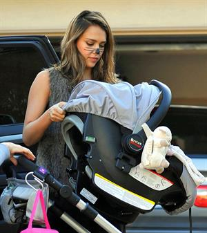 Jessica Alba heading to a Halloween party in Santa Monica on Oct 31, 2011