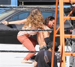 Jessica Alba wrestling in Los Angeles 09-04-12