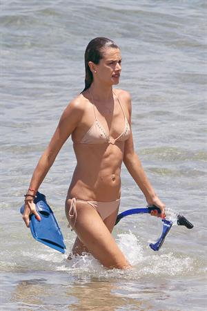 Alessandra Ambrosio on the beach in Hawaii July 30, 2010