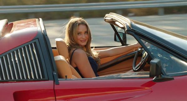 Hannah Davis in a red Ferrari in Vacation