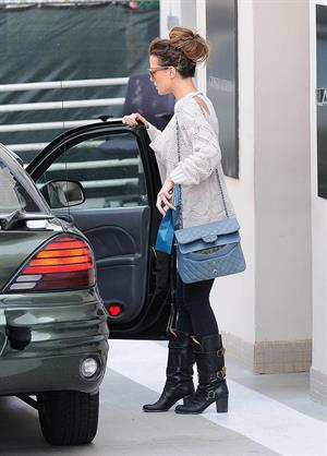 Kate Beckinsale Waits for her ride while leaving Lancer Dermatology in Beverly Hills (May 17, 2013)