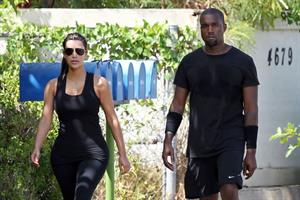 Kim Kardashian and Kanye West out for a walk in Beverly Hills in August 11, 2012