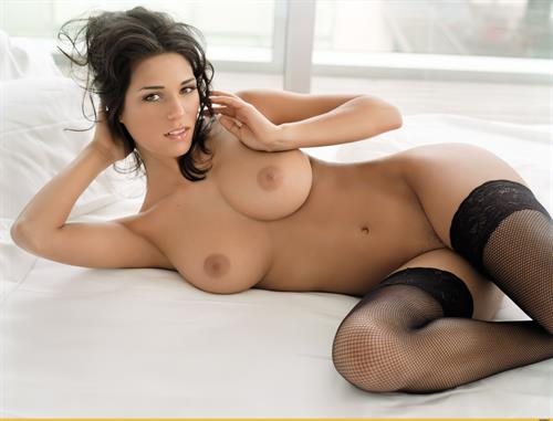 Janine Habeck in nothing but black lace stockings