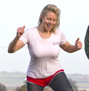Abi Titmuss working out in a park in Kent December 5, 2011