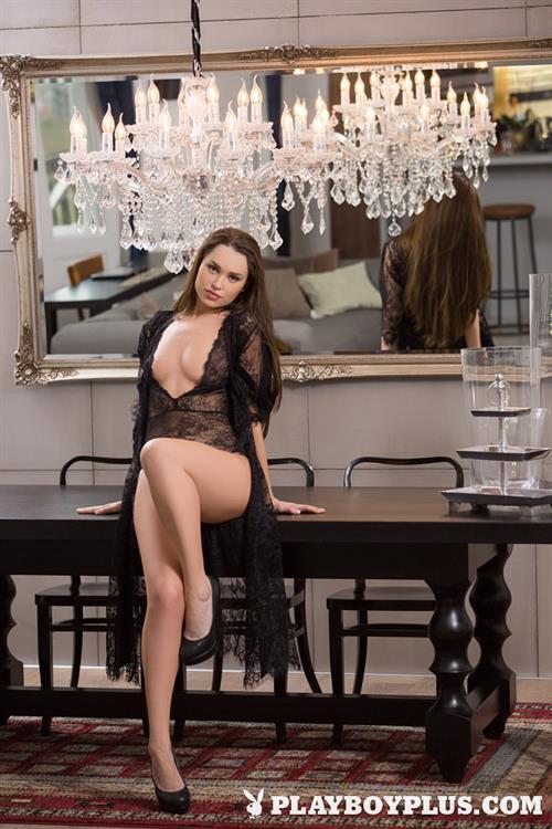 Playboy Cybergirl Jasmine Symone Nude on a table for Playboy Plus!