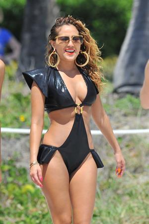 Adrienne Bailon filming scenes for Empire Girls in Miami on April 27, 2012