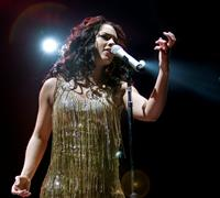 Alicia Keys performs live at the Sports Palace in Madrid on March 17, 2008