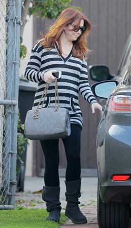 Alyson Hannigan running errands in Santa Monica Jan 30, 2012