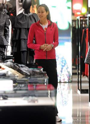 Ana Ivanovic shopping at Armani Boutique in Milan on December 2, 2012