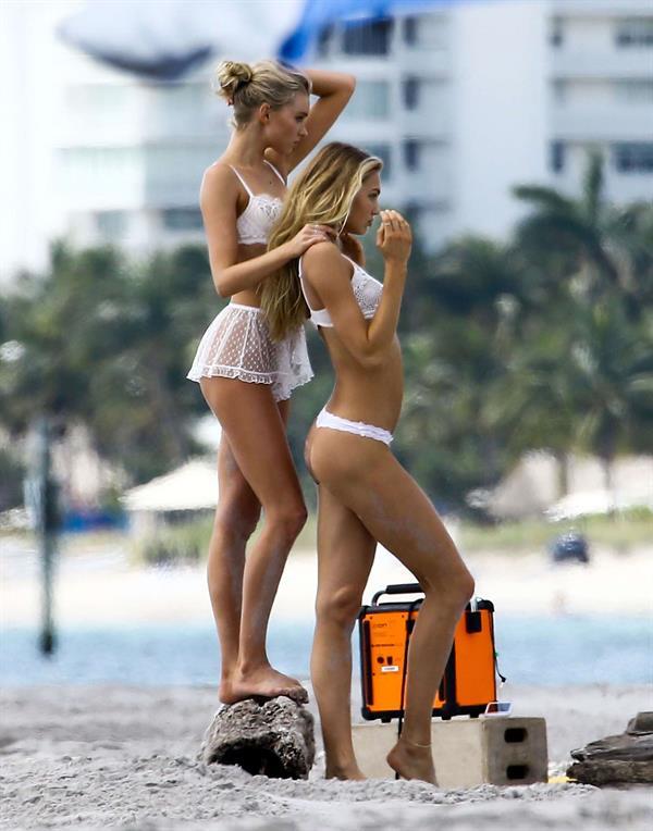 Elsa Hosk and Josephine Skriver on the beach in Miami