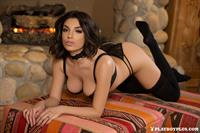 Playboy Cybergirl Darcie Dolce in black lingerie