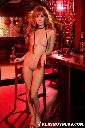 Playboy Cybergirl - Dominique Jane Nude at the bar (red lighting)