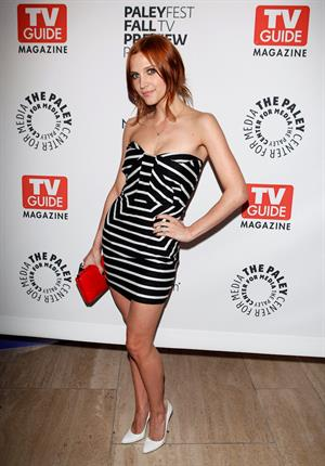 Ashlee Simpson in a black and white dress