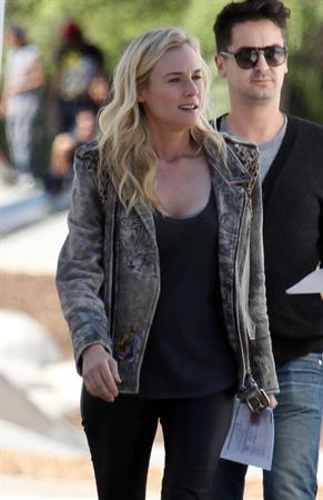 Diane Kruger On the set of her new Movie 'The Bridge' in Los Angeles on April 16, 2013