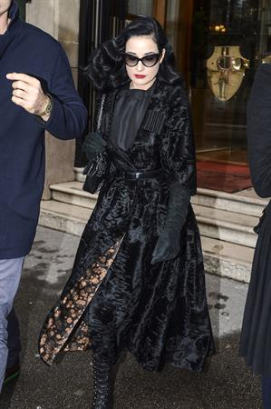 Dita Von Teese - Leaves Hotel Raphael in Paris 1/23/13