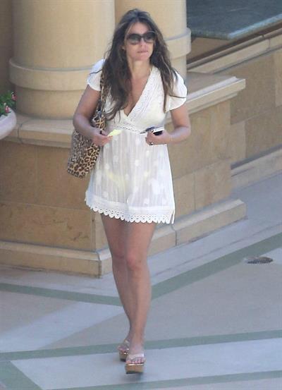 Elizabeth Hurley at a pool in Las Vegas July 7-2013