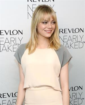 Emma Stone Revlon's Nearly Naked makeup launch in NY 12/5/12