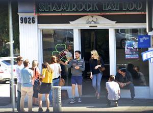 Emma Stone - Shamrock Tattoo in LA.