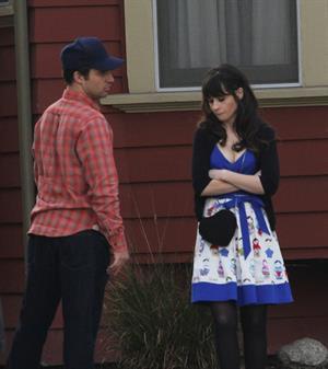 Zooey Deschanel on the set of 'New Girl in Los Angeles December 4, 2012